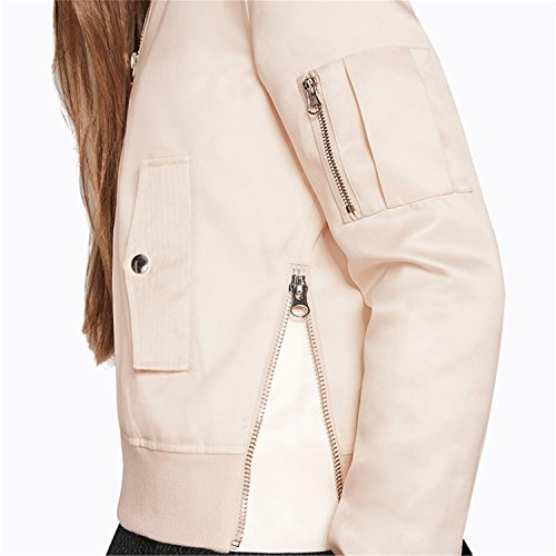 Mode Reißverschluss Vorne Zip Up Baseball Aviator Flight Fliegerjacke Bomberjacke Bomber Jacket Jacke Oberteil Top Rosa - 2