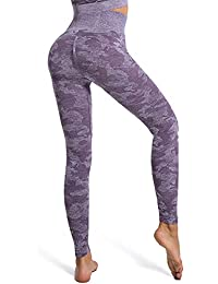 Yaavii Damen Camouflage Sport Leggings Nahtlose Kompressions Sporthose Yoga Fitnesshose mit Hohe Taille für Workout Gym Jogging