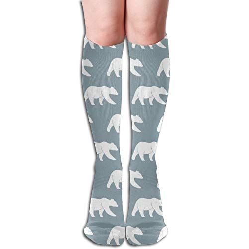 Women's Fancy Design Stocking Bears On Rustic Woods Blue Wholecloth Coordinate Multi Colorful Patterned Knee High Socks 50cm(19.6Inchs)