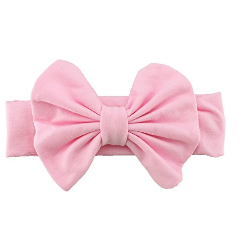 Cute Baby Girls Kids Stretch Bowknot Headband Hairband (Pink)