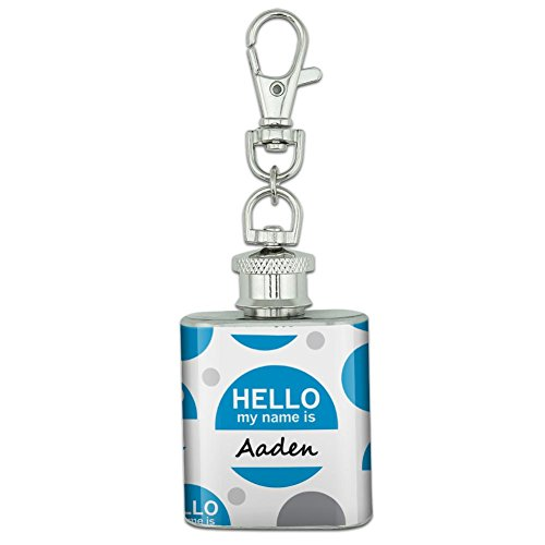 Stainless Steel 1oz Mini Flask Key Chain - Hello My Name Is Aa-Al