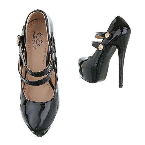 High Heel Pumps Damenschuhe High Heel Pumps Pfennig-/Stilettoabsatz High Heels Ital-Design Pumps Schwarz KV62-53A