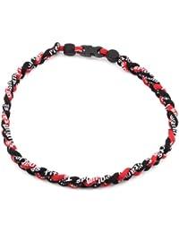 Sports 3 corde tressée colliers de titane tornade de sport de baseball(Noir/Noir/Rouge)