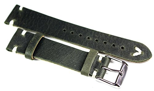 Sulla 19mm Herren Leder Vintage Retro Look Uhrenarmband weiße Naht Olive grün BS (Olive Uhrenarmband Leder)