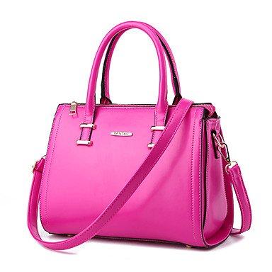 Damenmode PU Leder Schulter Messenger Bags/Handtasche Tote Fuchsia