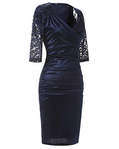 Damen Elegant V-Ausschnitt Kleid Spitzen 3/4 Arm Wickelkleid Cocktailkleid Marine