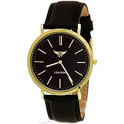 NY London designer Slim Unisex Herren/Damen Leder Armband Uhr, Schwarz,Gold,super flach, inkl.Uhrenbox