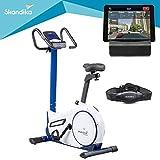 Skandika Fitness skandika Morpheus-Vélo ergomètre-Bluetooth-Max.120 kg-24 Programmes-32 Niveaux de résistance-Masse d'inertie 12 Kg Velo d'appartement, Blanc/Bleu