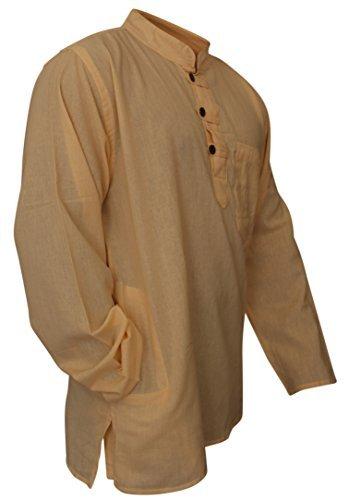 Shopoholic Fashion leicht Hippie Festival Großvater Shirt gelblich creme