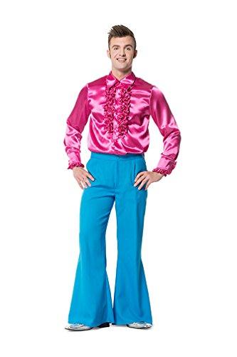 Karneval Klamotten Hippie Hose Herren Kostüm türkis blau Flower Power Hose Herren 70er 80er Jahre Schlaghose Größe (Kostüme Jahre Dance 80er)