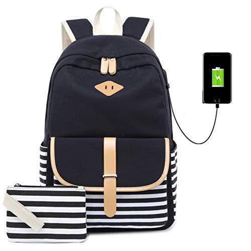 Zaino tela vintage sacchetto di scuola per i giovani adolescenti ragazze e ragazzi daypack casual zaino nero (nero)