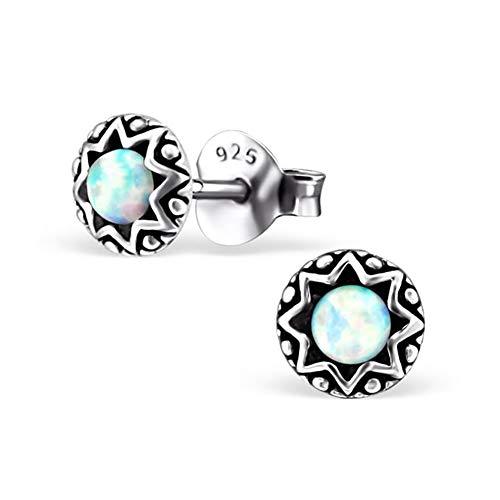 SILV Opal Ohrringe weiß rund - Stern Ohrstecker Silber 925 klein für Damen Kinder SV-126-Snow