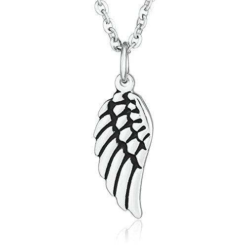 Beydodo Schmuck 1PCS Edelstahl Halskette für Herren Silber Engelsflügel Anhänger Kette Silber Männer ()