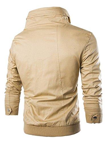 Jeansian Hommes Manteau Outerwear Sport Casual Men Hoodie Jacket Coat 9027 Kaki