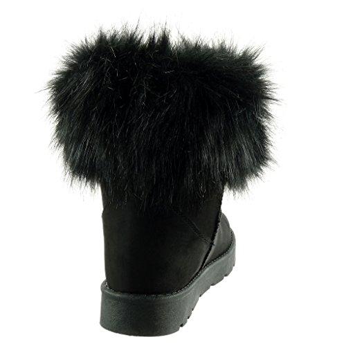Angkorly - Scarpe da Moda Stivaletti - Scarponcini stivali da neve donna pelliccia Tacco a blocco 3 CM - soletta Foderato di Pelliccia Nero