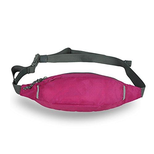 Sport und Fitness Workout Gürtel Running Tasche Gürteltasche Tasche und leicht Wasserabweisend - rose red