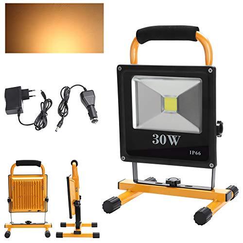 fsders B-1-HG3408 VINGO super dünn LED Scheinwerfer 4000MA Beleuchtung Strahler 2400LM Betriebszeit 4 Stunden Handlampen Akkulampe Outdoor, 50 W, 30w Warmweiß