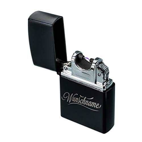 Lichtbogen Feuerzeug mit Gravur Name - USB Elektro Feuerzeug wiederaufladbar per USB & winddicht inkl. Batterieanzeige - Personalisierte Geschenke mit Geschenkverpackung Farbe Schwarz