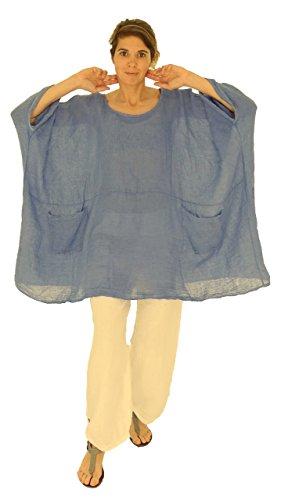Mein Design Lagenlook de Mallorca Damen Bluse HZ800 Tunika Oversize Poncho Leinen Gaze Vintage Gr. 42,44, 46, 48, 50, 52, 54 Mittelblau