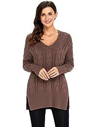 KCatsy Sweater Autumn Winter New Large Size Women s Twisted Knit Long  Sleeve Fashion V-Neck 3f0f9f375
