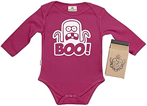 BOO Organic Baby Vest - Babygrow - Baby Onesie in Milk Carton - 12-18 Months Pink