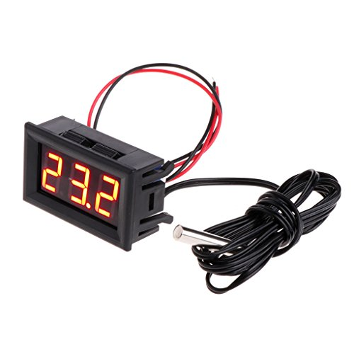 Wiffe -50~110 ° C DC 12 V Digital LED Thermometer Auto Temperatur Monitor Panel Meter (Rot)
