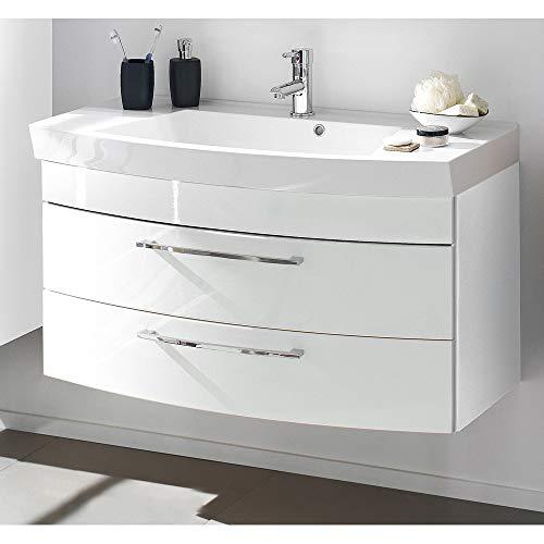 Lomadox Waschtisch mit Unterschrank in Hochglanz weiß, 100cm Waschbecken, 2 Softclose-Schubkästen