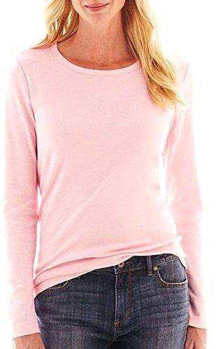Elegance Damen-Langarm-T-Shirt mit Rundhalsausschnitt(ref:2214) (M, Blasses Rosa(Palepink))