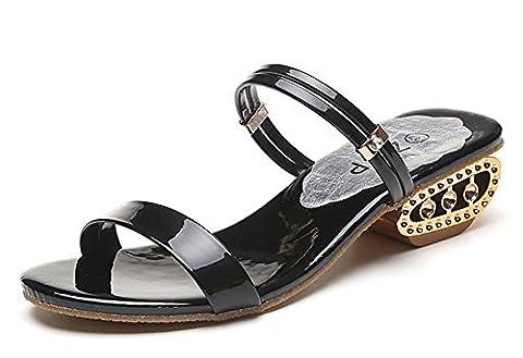 Minetom Femmes Été Talon épais Sandales Chaussons Peep Toe Tongs Flip Flops Chaussure Plage Vacances 2 Types de Vêtements Noir EU 37