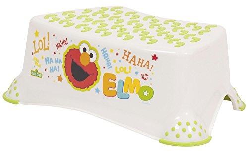 Sesamstrasse Elmo Baby Kind und Kleinkinder Schritt Hocker 14cm/14cm weiß/grün stark Kunststoff 90kg/Wasserfarben geeignet Kapazität rutschfeste/Skid Sicherheit Gummierte Oberfläche und Füße für WC/Töpfchen Training, - Kleinkinder Schritt-hocker Für Sicherheit