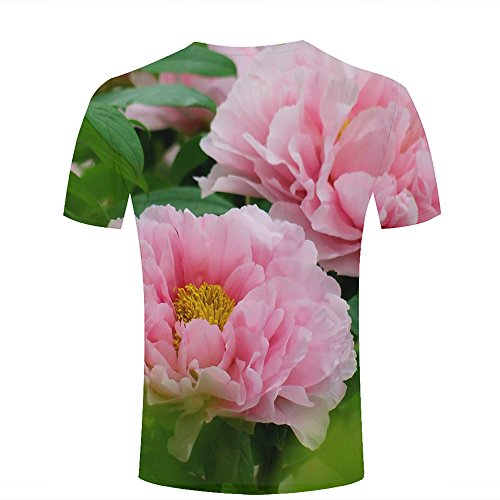 ouzhouxijia Mens 3D Printed T-Shirts Pink Peony Floral Garden Graphics Couple Tees B