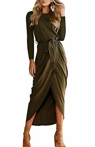 Yieune Sommerkleid Damen Lose Abendkleid Einfarbig Maxikleider Elegant Lange Strandkleid (Grün XS)