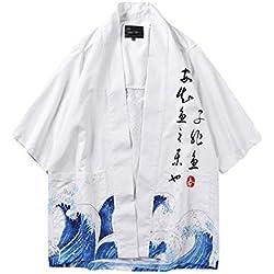Hombre Camisa Kimono Hippie Cloak Estilo Japonés Estampado Holgado Manga 3/4 Cardigan 812001 XL