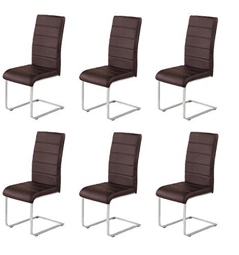 agionda 6 x Freischwinger Jan Piet Esszimmerstühle Kunstleder braunNEU Jetzt 120 kg belastbar Gestell einteilig Stuhl Polsterstuhl 6 er Set...