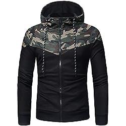 Rawdah Camuflaje de manga larga de los Cremallera hombres de impresión con capucha Cool Warm Sweatshirt Tops Chaqueta de la capa Outwear (Camuflaje, M)
