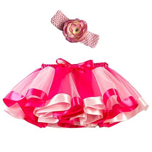 Mädchen Kinder Tutu Rock, zweiteiliges Set Party Tanz Ballett Kleinkind Baby Regenbogen Kostüm Rock + Stirnband Set Karneval Ostern (2Y-11Y)(Rosa,L)