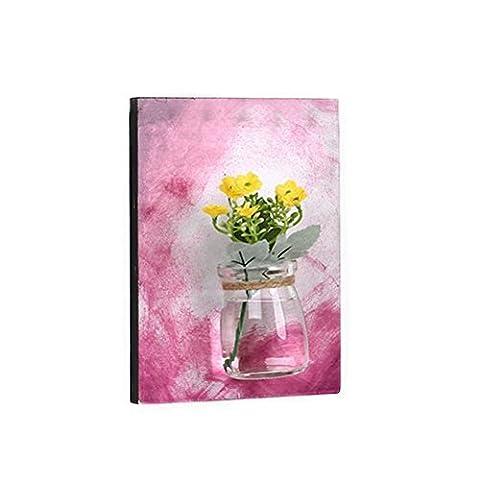 Rustikale Wand hängende Vase Ölgemälde Holz Wand Dekor Retro Stil Blume Vasen, Wall Pflanzer, Blumenbehälter, Bauernhaus Home Decoration, Housewarming & Hochzeit Geschenk (Hellrot)