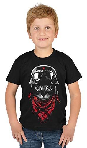 ArtBrands Kinder T-Shirt Jungen - Neon Abenteurer Katze, Kinder Shirt:S