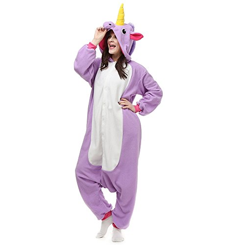 Uni Best Einhorn Pyjama Kostüm Overall Erwachsene Unisex Tier Pyjamas Sleepwear (lila, XL)