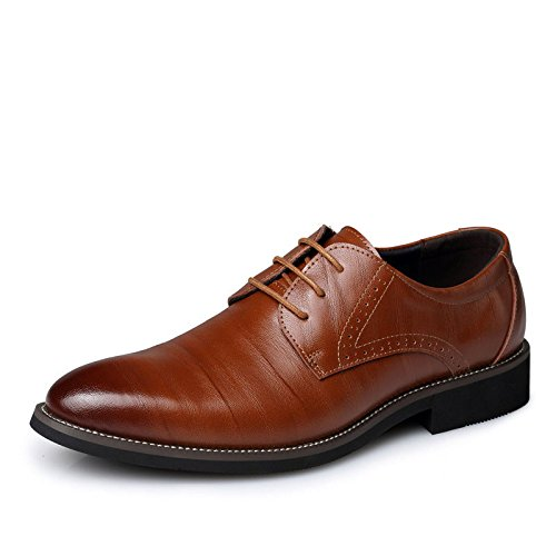 Men's Brown Genuine Leather Lace Up Oxford Shoes red