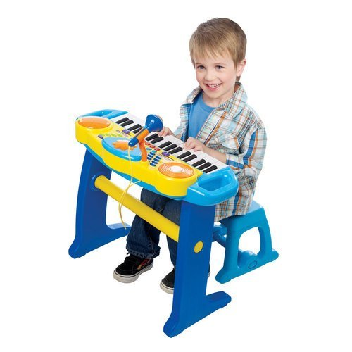Preisvergleich Produktbild Bruin Keyboard-Tastatur Mit Hocker, leuchtet beim Spielen auf, Blau