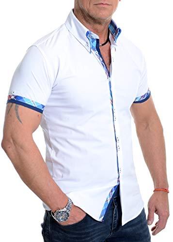 D&R Fashion Weißes kurzes Herrenhemd Italienisches Design Slim Fit Blaues Karomuster Weiche...