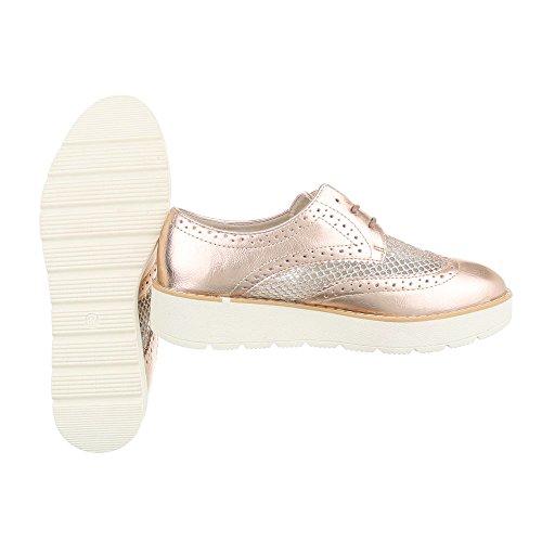Ital-Design , Chaussures à lacets femme Rosa Gold 62015