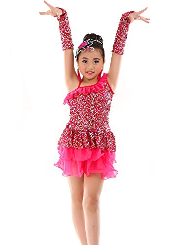 letten Party Latin Kleid Kinder Active Dance Kostüm Hotpink (Ballroom Latin Dance Kostüme)