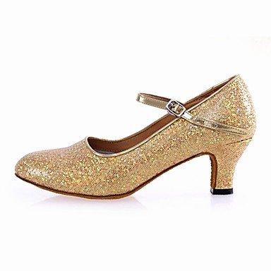 Silence @ Chaussures de danse pour femme moderne Paillettes Talon cubain Argenté/doré doré