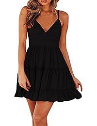 Yesmile Vestido de Mujer Falda Negro Vestido Elegante de Noche para Boda Fiesta Vacaciones Mini vestido Sin Espalda de Verano…