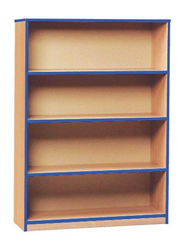 Bargain Monarch School Open Blue Edged Bookcase 1 Fixed 2 Adjustable Shelves Beech MEQ1250BBE