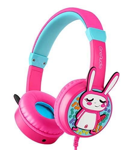 OneOdio Kinder Kopfhörer Gehörschutz 85 db mit Lautstärkebegrenzung & Musik Teilen Funktion Dreidimensional Kaninchen Kinderkopfhörer On Ear Headset 3.5mm Kabelgebundene Leicht ()