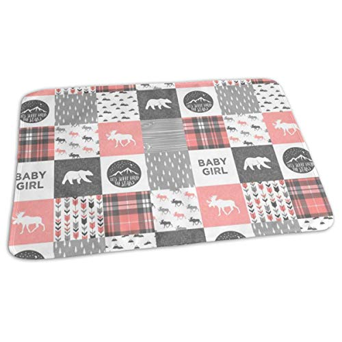 Bikofhd Baby Girl - Woodland Patchwork Quilt Top - Coral Baby Portable Reusable Changing Pad Mat 19.7X 27.5 inch -
