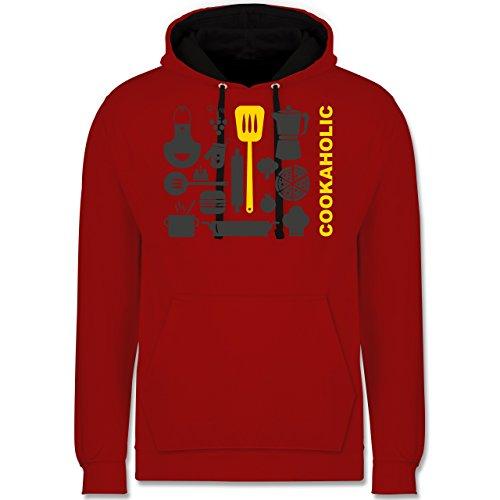Küche - Cookaholic - Kontrast Hoodie Rot/Schwarz